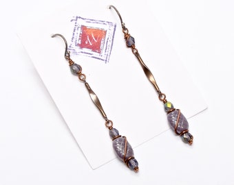 Lavender Artisan Crafted Earrings, Long Dangle Earrings, Spring Fashion