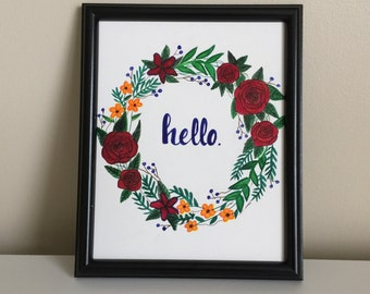 hello print, floral print, hello quote, floral wreath, hello drawing