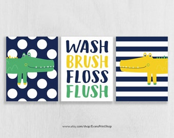 CANVAS Alligator Bathroom Decor - Wash Brush Floss Flush - Alligator Bathroom Art - Bathroom Rules - Bathroom Decor Kids - Bathroom Art Boy