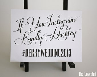 Wedding Instagram Sign - Personalized Printable Hashtag Wedding Sign - Custom Color - PDF - DIY - AA3