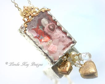 All Heart Frozen Charlotte Soldered Box Charm Necklace Doll In Box  Mixed Media Assemblage Pendant