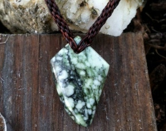 Washington River Botryoidal Jade and Leather Braided Necklace