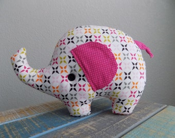 Elephant plush pillow toy in pink starburst, elephant stuffed toy, elephant plushie, girl elephant room decor, elephant pillow