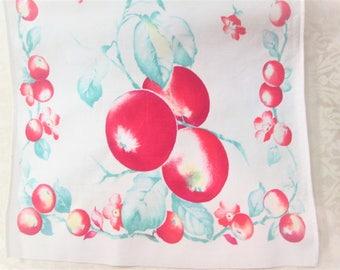 Vintage Kitchen Towel  Tea Linens Dish Cloth Hand Towels Fruit Apples Table Runner Vintage Linens