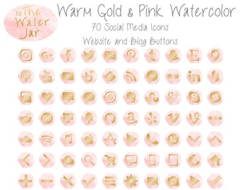 Gold on Pink Watercolor Social Media Icons, Watercolor Social Icons Website Graphics, Gold Website & Blog Resources, Watercolor Blog buttons