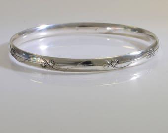 Sterling Silver Bangle - Vine and Leaf Design