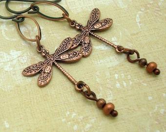 Copper Dragonfly Earrings in the Bohemian Jewelry Style