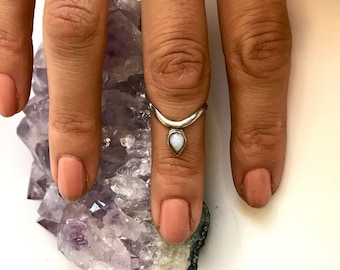 Dainty White Fire Opal Stacker