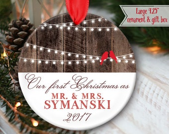 """LARGE 4.25"""" Rustic First Christmas as Mr & Mrs Ornament Hanging lights string lights Personalized Christmas Ornament, mdf wood OR970"""
