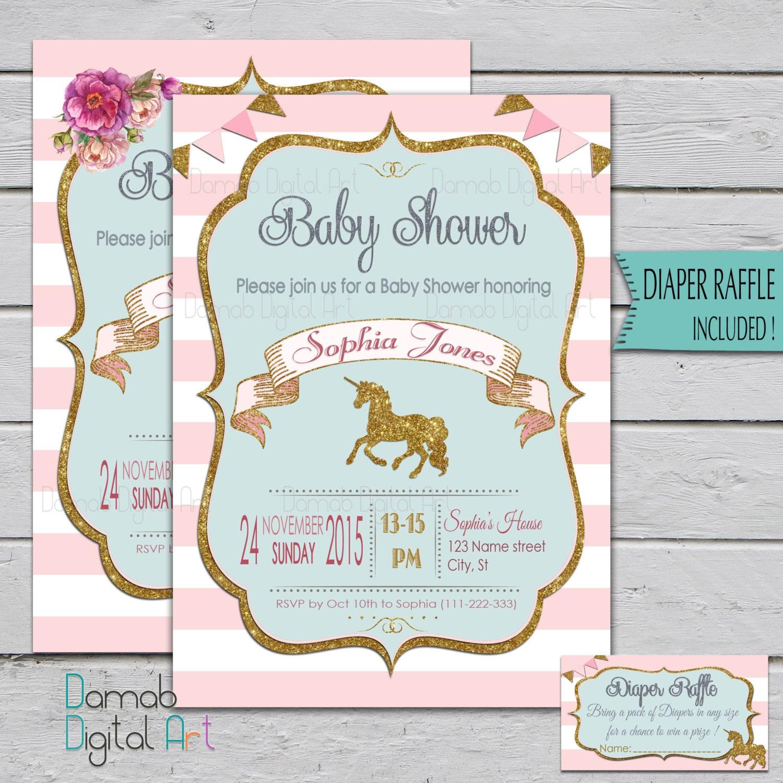Unicorn Baby Shower Invitation Unicorn invitation pink gold