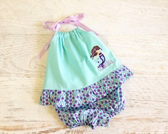 Baby Girl Little Mermaid Halter Pillowcase Top with Matching Diaper Cover