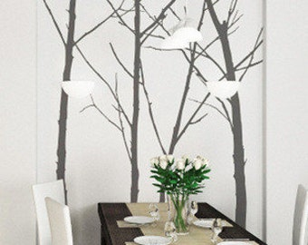 Vinyl Wall Sticker ,Decal,Art, Home Decors, Murals ,Graphic -Set of 4 100in winter Trees