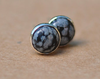 Snowflake Obsidian Earrings with Sterling Silver Earring studs, 5 mm gemstones white and black. dots, spots, birthdays, gifts, stud earrings