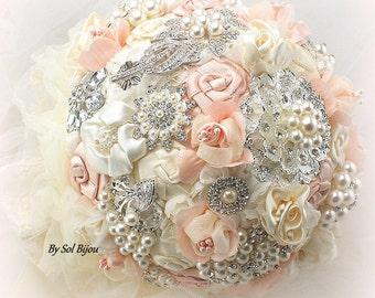 Blush Vintage Style Brooch Bouquet Ivory Wedding Bouquet Fabric Bouquet Jeweled Bouquet Bridal Bouquet Gatsby Wedding Bouquet