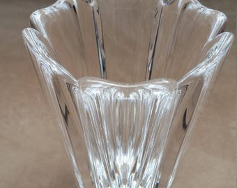Orrefors Sweden Corona Vase. Signed, Vintage, Six Inches Tall.