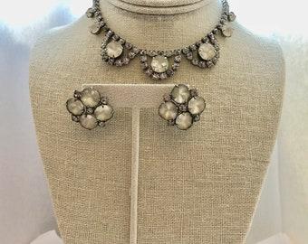 Vintage Juliana Satin Parure Set Bridal Bridesmaid Wedding Prom Art Deco Silver Necklace Earrings Doodaba