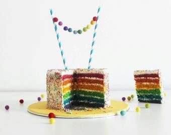 Rainbow cake Topper, Cake Smash Cake topper, Party Decor, 1st birthday decor, Pompom cake topper, Felt ball cake topper