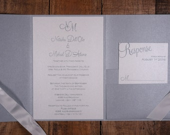 Silver And White Wedding Invitation, Silver And White Invitation, Silver And White Wedding Invitations, Elegant Invitations, Elegant Invite