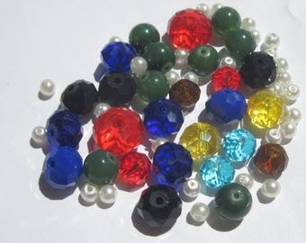 58 round glass beads of various colors of 4-12 mm (PV54)