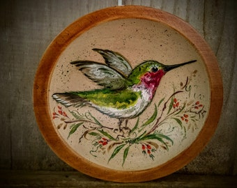 Carved Maple Bowl With Hand Painted Hummingbird