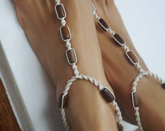 Minimalist Earth Tone Barefoot Sandals, Women & Men Barefoot Sandals, Foot Jewelry, Surfer Jewelry, 1 Pair