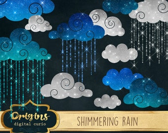 Shimmering Rain Clipart, Cloud clip art, ombre raindrops weather sparkle glitter night sky instant digital download scrapbooking