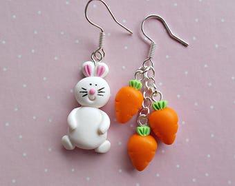 Easter Earrings - Bunny Earrings - Easter Gift - Bunny and Carrot Earrings - Funny Dangle Earrings - Girls Earrings - Easter Basket Stuffers