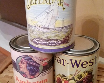 SALE - Vintage Vegetable and Berry Cans -  Rustic Home decoration Set of 3