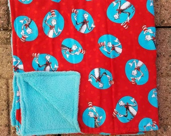 Dr. Seuss cat In the hat one of a kind baby blanket