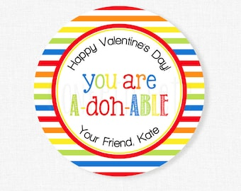 Play Doh Valentine Tags, Valentine's Day Tag, You are a-doh-able Tag, Class Valentine Tag, Personalized
