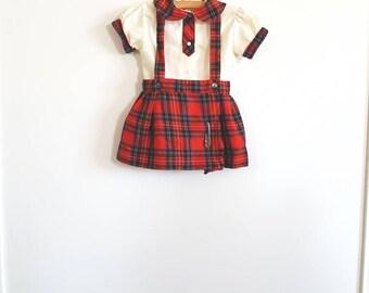 Vintage Red Plaid Toddler Dress