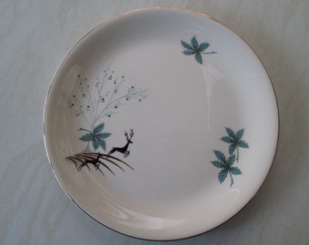 Alfred Meakin 9 inch small dinner plate in the blue Stag deer design