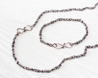 Copper Jewelry SET: Copper Chain Necklace and Bracelet, Handcrafted solid copper chain with infinity link clasp, unique jewelry gift set