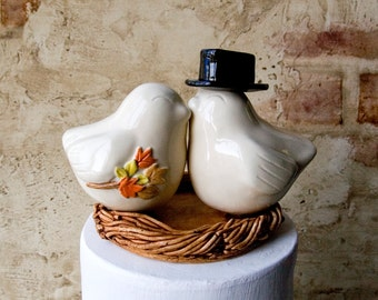Fall Wedding Ivory Love Bird Topper