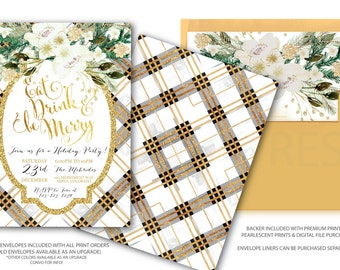 Holiday Party Invitation // Eat Drink and be Merry // Christmas Party Invitation // Tartan // Plaid // Gold Glitter// ASPEN COLLECTION