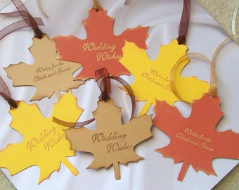 Wedding Wishing Tree Tags - Leaves in a Variety of Colors (set of 50)