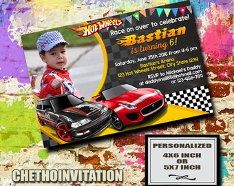 Hot Wheels Birthday Invitations Etsy