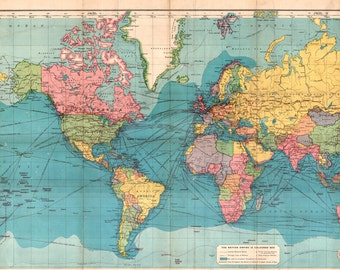 World map printable digital downloadntage world map high world map printable digital downloadntage world map old world map vintage art publicscrutiny Choice Image