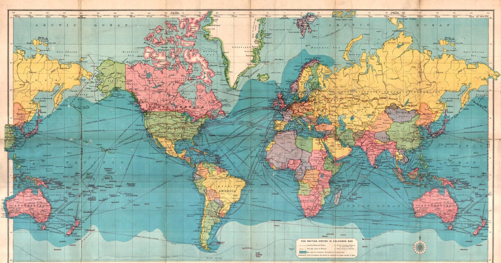 World map printable digital download.Vintage World Map. Old