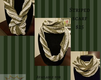 Olive & Tan Striped Infinity Scarf