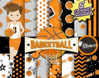 "SALE Basketball Digital Paper + Clipart : ""Basketball Paper""- Basketball Clipart, Basketball Birthday Invitation, Basketball Printable"