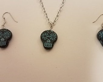 Black And Green Sugar Skulls Turquoise Necklace Jewelry   / Handmade Jewelry