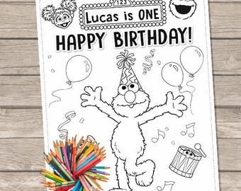 Elmo Coloring Pages, Sesame street Coloring, Printable Elmo Birthday, Sesame Street Birthday, Personalized