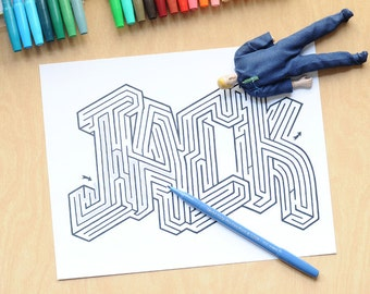 JACK Name Maze / Instant DOWNLOAD Printable PDF / Personalized Activity for All Ages / Hand-drawn