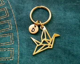 Paper Crane Keychain SMALL Paper Crane Keyring Monogram Keychain Japanese Keychain Origami Keychain Geometric Crane Charm Geometric Keychain