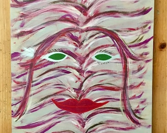 Abstract art, acrylic, recycled materials, art, feminist, feminism, art by carole, art by carole store, pinks, green, empowering, swirls