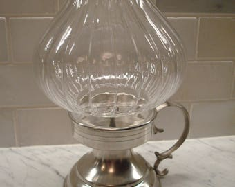 Vintage Frieling Zinn Glass & Pewter Candle Holder Lantern - Excellent!!