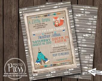 Boy Baby Shower Invitation Tribal Woodland Rustic Arrow Little Brave Wood Burlap Vintage Teepee Printable Digital File I Customize For You