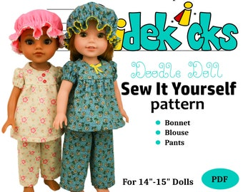 Wellie Wishers Hearts For Hearts Doll Clothes Sewing Pattern PDF: Jammies DRLWWW03