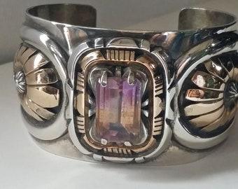 ROBERT KELLY Ametrine Sterling and 12K GF Cuff Bracelet